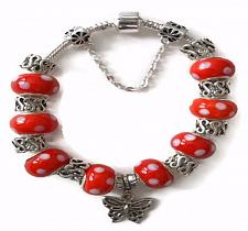 Buy Butterfly European Silver Charm Bracelet With Red Murano Beads