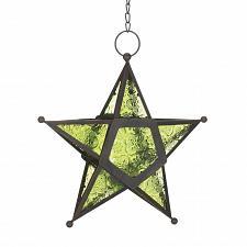 Buy *17756U - Green Pressed Glass 5 Point Star Tea Light Lantern