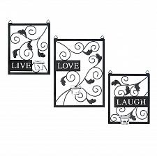 Buy *15865U - Live Love Laugh Candle Holder Black Metal Wall Plaque Decor