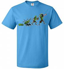 Buy Pickle Rick Evolution Unisex T-Shirt Pop Culture Graphic Tee (XL/Pacific Blue) Humor