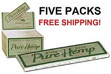 Buy 5 PACKS King Size PURE HEMP cigarette rolling papers - FREE SHIPPING!