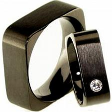Buy coi Jewelry Black Titanium Sqaure Wedding Band Ring - JT1898(Size US11)