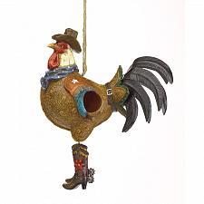 Buy 37973U - Cowboy Rooster Decorative Polyresin Birdhouse