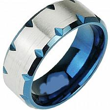 Buy coi Jewelry Titanium Ring With Blue Color Plating - JT1752(Size:US15)