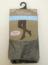Buy Women Sheer Tights PLUS SIZE 3 Solid Black Control Top SECRET TREASURES ST7BE