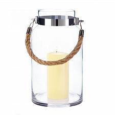 """Buy *18149U - Large 11.5"""" Hanging Glass Hurricane Pillar Candle Lantern"""