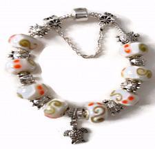 Buy Turtle European Silver Charm Bracelet With White Orange Tan Design Murano Beads