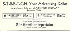 Buy Vintage Hamilton Spectator Ink Blotter Newspaper Ontario Canada