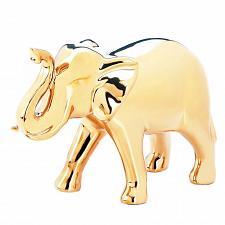 """Buy *18252U - Large 6.75"""" High Shine Golden Ceramic Elephant Figure"""