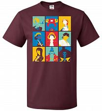 Buy Popiece Art Unisex T-Shirt Pop Culture Graphic Tee (S/Maroon) Humor Funny Nerdy Geeky