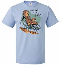 Buy Chewie and Porg Unisex T-Shirt Pop Culture Graphic Tee (L/Light Blue) Humor Funny Ner
