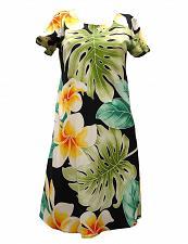 Buy Ladies Black Short Rayon Dress w/ Sleeves Plumeria Beauty #PF-165-PB SIZE: XL