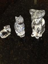 """Buy set of 3: fine crystal cat figurines approx 7"""" , 5"""" , 2.5"""""""