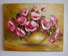Buy offer Pink Roses Original Oil Painting Wild Flowers Palette Knife Art Impasto Ceramic