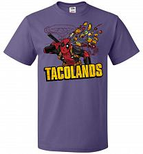 Buy Tacolands Unisex T-Shirt Pop Culture Graphic Tee (2XL/Purple) Humor Funny Nerdy Geeky