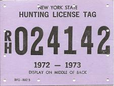 Buy Vintage Hunting License Big Game Tag New York State 1972-1973