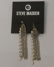 Buy Women Chain Earrings Rhinestones Drop Dangle Silver Tones Hooks STEVE MADDEN