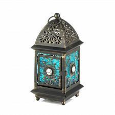 Buy *17323U - Jeweled Blue Beaded Frame Glass Votive Lantern Candle