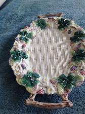"Buy Decorative Floral Ceramic Large Serving Platter with handles 17"" x 11"""