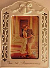 Buy OUR FIRST ANNIVERSARY CERAMIC PHOTO/PICTURE FRAME - 4x6 PHOTO - RUSS BERRIE CO