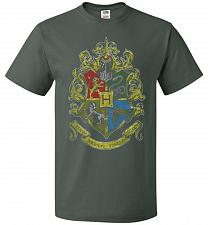 Buy Hogwart's Crest Adult Unisex T-Shirt Pop Culture Graphic Tee (L/Forest Green) Humor F