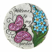"Buy *18530U - Pink Butterfly Welcome Garden 10"" Stepping Stone"