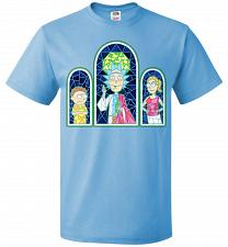 Buy Rick And Morty Stain Glass Unisex T-Shirt Pop Culture Graphic Tee (S/Aquatic Blue) Hu