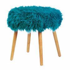 Buy *18181U - Turquoise Faux Fur Foot Stool w/Wood Legs