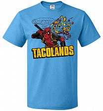 Buy Tacolands Unisex T-Shirt Pop Culture Graphic Tee (XL/Pacific Blue) Humor Funny Nerdy