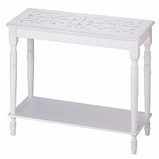 Buy 34709U - Carved Top Rectangle Accent Table White Wood