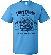 Buy Van Damn Tour Bus Adult Unisex T-Shirt Pop Culture Graphic Tee (L/Pacific Blue) Humor