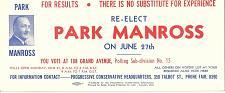 Buy Vintage Ink Blotter Political Park Manross Conservative St Thomas ON Canada