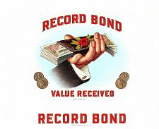 Buy Record Bond Vintage Antique Cigar Box Label Consolidated Litho. Corp Carle Place