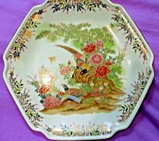 Buy Hexagon Shaped Japanese Plate Pheasants/Floral Vintage Gold Trim 7 1/2 inches
