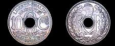 Buy 1935 French 10 Centimes World Coin - France - Light Rainbow Toning