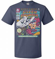 Buy Silver Smurfer Unisex T-Shirt Pop Culture Graphic Tee (2XL/Denim) Humor Funny Nerdy G