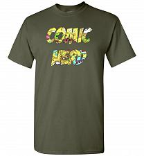 Buy Comic Nerd Unisex T-Shirt Pop Culture Graphic Tee (S/Military Green) Humor Funny Nerd