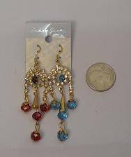 Buy Women Beaded Rhinestone Earrings Drop Dangle Gold Tones Hook Fasteners FASHION