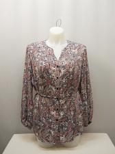 Buy Button Down Shirt Womens PLUS SIZE 2X Paisley Print Long Sleeves V-Neck