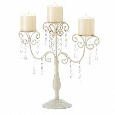 Buy 39784U - Ivory Elegance Jeweled Pillar Candelabra Candle Holder