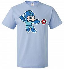 Buy Mega Mario Unisex T-Shirt Pop Culture Graphic Tee (L/Light Blue) Humor Funny Nerdy Ge