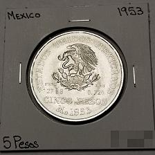 Buy 1953 Mexican 5 Peso World Silver Coin - Mexico - Lot#9999-OS