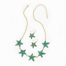 Buy *16232U - Green Starfish Earring & Necklace Jewelry Set