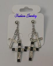 Buy Cross Earrings Black Rhinestones Women Drop Dangle Silver Tones Fashion Push Bac