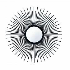 Buy *17079U - Black Iron Rays Round Wall Mirror