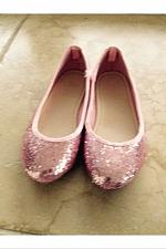 Buy Girls 11/13 Pink Glitter Flats Ballet Style Shoes By Gap beautiful condition