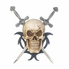 Buy *17866U - Skull Skeleton Head Two Swords Hanging Wall Plaque
