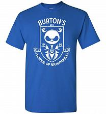 Buy Burton's School Of Nightmares Unisex T-Shirt Pop Culture Graphic Tee (S/Royal) Humor