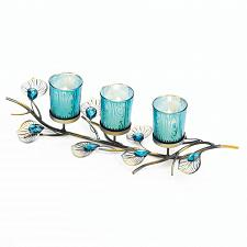 Buy *18046U - Peacock Inspired Tabletop 3 Turquoise Cup Candle Trio