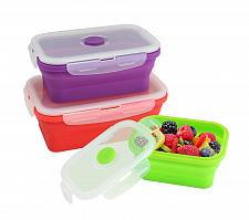 Buy :10711U - Silicone BPA Free Retangle Stacker Food Container Set Of 3
